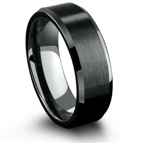 8mm black titanium wedding ring with beveled edges