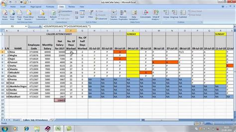 salary history exle officegyan attendence sheet in excel avi