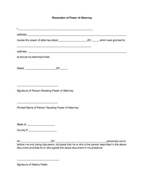 corporate power of attorney template revocation of power of attorney business forms