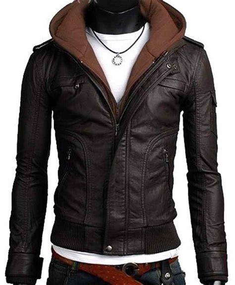 hooded leather jacket mens leather jacket fabric hooded leather jacket mens hooded jacket hoodie outerwear