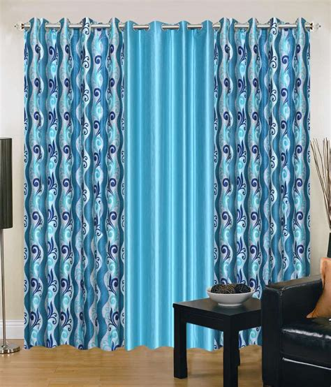 elegance curtains elegance blue polyester door curtains pack of 3 buy