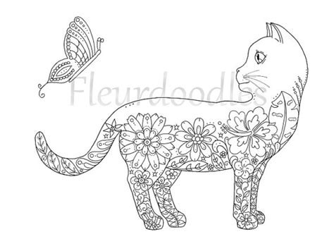 doodle cat free coloring page doodle cat printable instant