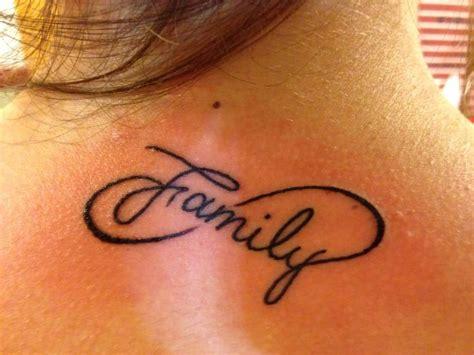 infinity tattoo upper back 40 famous family text amazing infinity tattoos golfian com