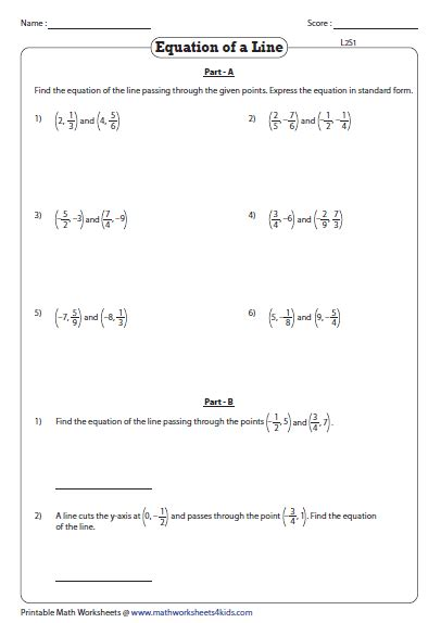 Finding Slope From Two Points Worksheet Answers by Equation Of A Line Passing Through Two Points Worksheets