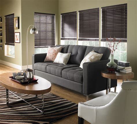 Living Room Horizontal Blinds Wood Horizontal Blinds Contemporary Living Room