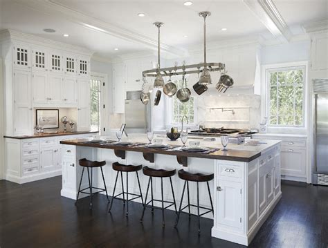 Kitchen Island Hanging Pots Two Tone Countertops Transitional Kitchen Bakes And