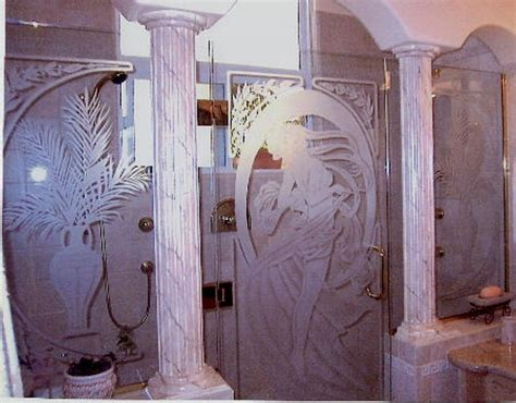 Sandblasted Shower Doors This Shade Sandblasted Shower Door Was Fashioned After The Style Of Alphonse Mucha When Combined