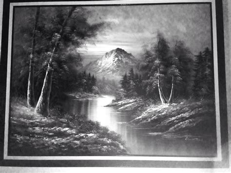 Black White Bedroom Decorating Ideas 52x40in black white mountain landscape oil painting signed