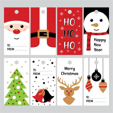 merry christmas gifts tags  winter holidays vector vector premium