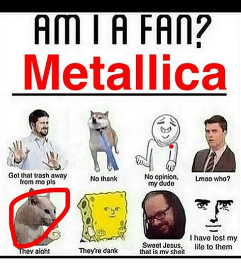 Metallica Memes - ami a fan metallica got that trash away no opinion lmao