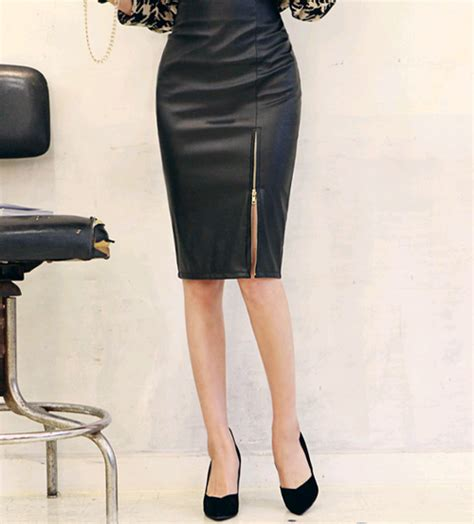 dabagirl zipper slit leather pencil skirt kstylick