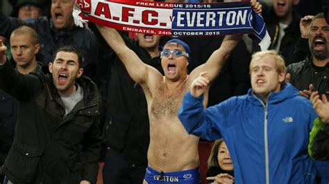 hot speedo clad football fan captures ire of security bbc news cold weather won t stop everton fan speedo mick