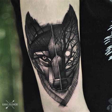 wolf tattoo half geometric 50 geometric and blackwork wolf tattoos tattoodo