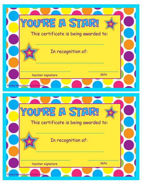 printable star of the day certificates you re a star end of the year certificates the kinder corner