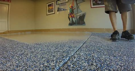 blue flake epoxy garage floor installation timelapse intricate coatings epoxy specialists