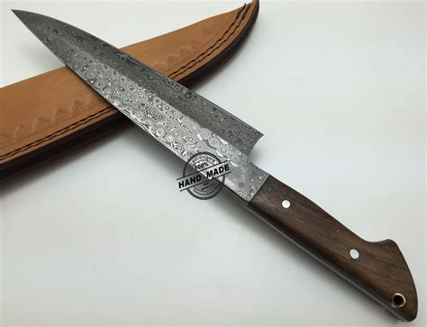 Handmade Knife - damascus kitchen knife custom handmade damascus steel kitchen