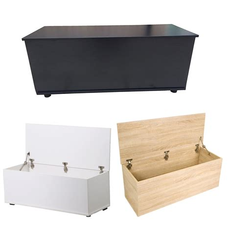 Hinged Storage Ottoman Plain Wooden Storage Ottoman Bench Chest Organizer Chair With Locking Hinged Top Ebay