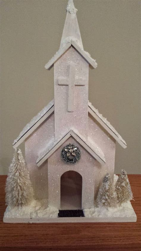 vintage putz inspired shabby chic white wooden snow church church vintage and