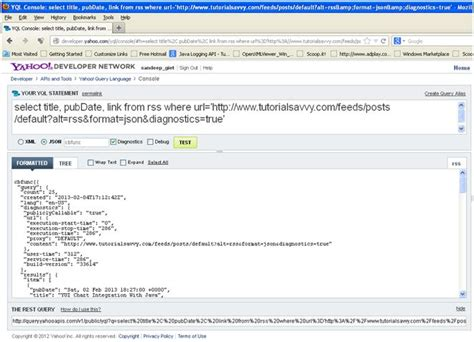 yql tutorial javascript creating datatable from rss feed and yql tutorial