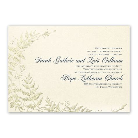 Gold Wedding Invitation Cards by Ferns Of Gold Invitation Invitations By