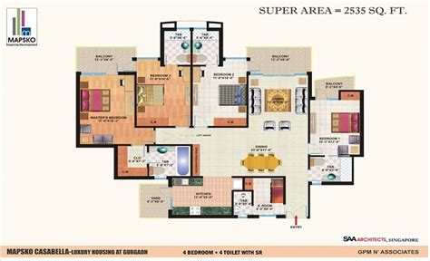 casa bella floor plan 4 bhk on sale in mapsko casa bella at sector 82 gurgaon