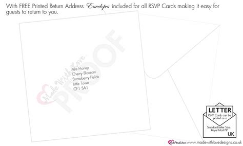 response card envelope printing template made with wording for rsvp cards wording templates