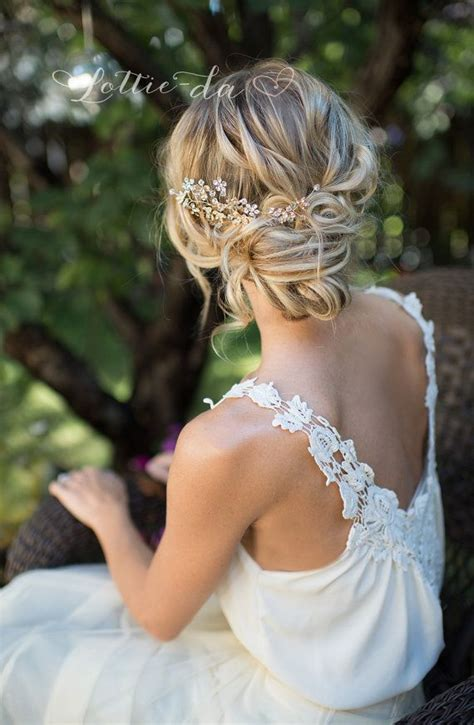 Hochzeitsfrisur Vintage by Gold Boho Flower Leaf Hair Vine Bridal Hair Comb Wire
