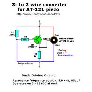 at 121 3 wire to 2 wire at 150 piezo buzzer converter