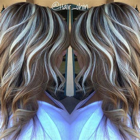 brown hair with platinum highlites light brown base w platinum thick crown highlights hair