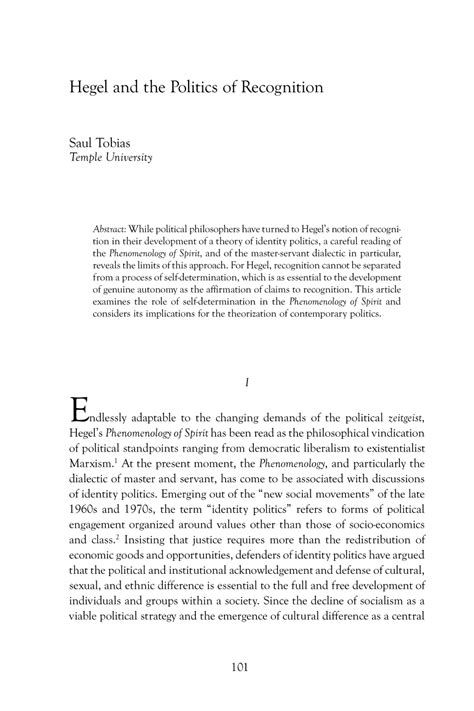 Hegel and the Politics of Recognition - Saul Tobias - The