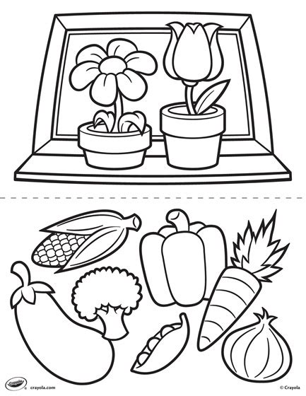 crayola coloring pages flowers first pages flowers and veggies coloring page crayola com