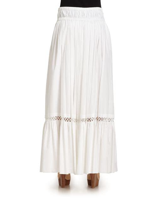roberto cavalli cotton eyelet maxi skirt in white lyst