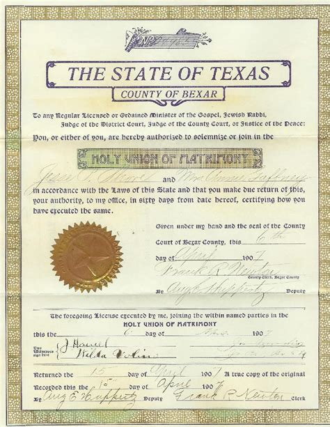 Marriage Records San Antonio Wedding Planner Marriage Documents In