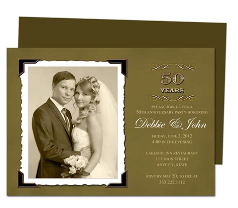 50th wedding anniversary templates wedding anniverary invitation templates vintage golden