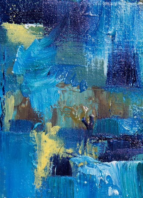 blue abstract painting aceo blue day abstract collector s card in a
