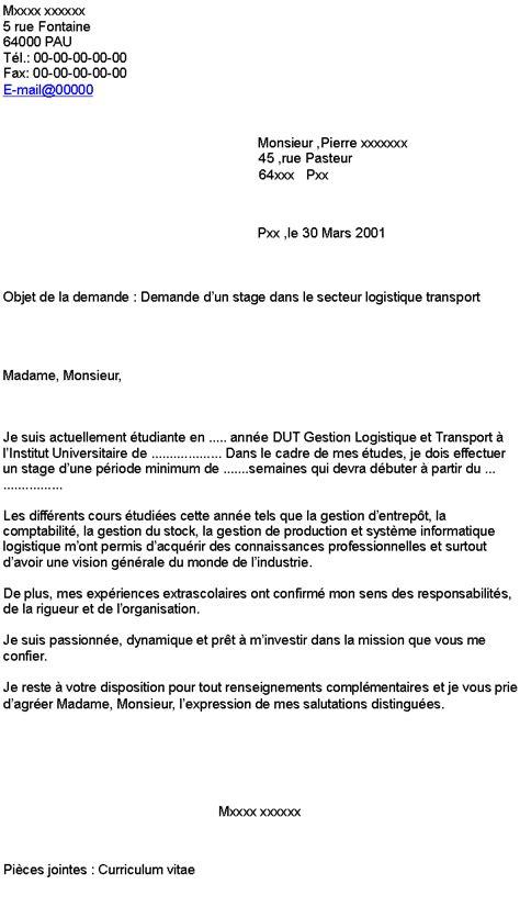 exemple lettre de motivation stage transport logistique document