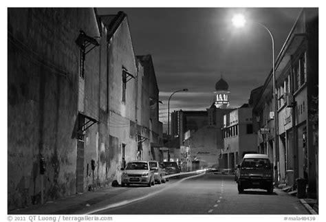 black night town black and white picture photo street at night george