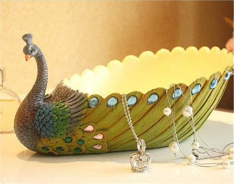 home made decoration pieces polyresin craft home decoration pieces plate india peacock