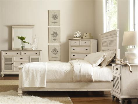 White Cottage King Bedroom Furniture by Coventry Two Tone California King Shutter Panel Headboard