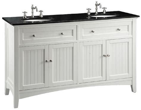 60 inch white beadboard bathroom vanity with black galaxy