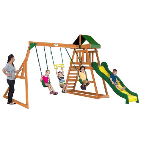 backyard discovery prescott cedar wooden swing set backyard discovery prescott all cedar swing set wayfair