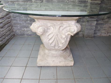 Plinth Or Pedestal Glass Top Ceramic Base Table Secondhand Pursuit