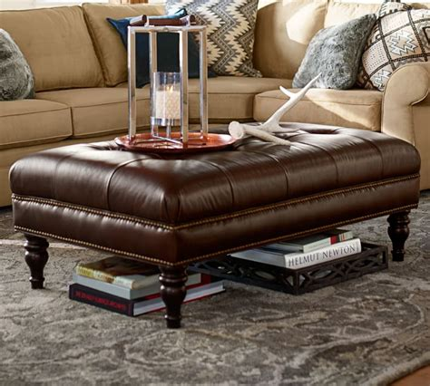 pottery barn leather coffee table pottery barn leather ottoman coffee table rascalartsnyc