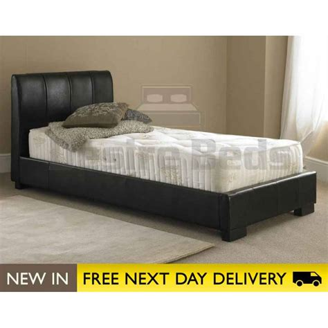 Mattress Next Day Delivery by Titan 3ft Single Black Faux Leather Bed Cheap Titan