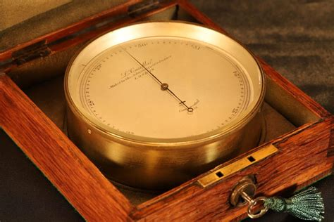 antique chart table marine barometer  casella