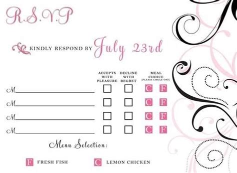 wedding response card template with meal choice 25 best images about rsvp on initials cards