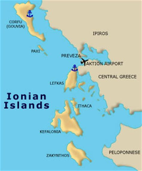 ionian sea map ionian islands sailing itineraries maps greece