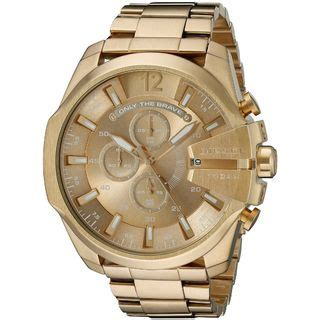 Diesel Mega Chief Gold White diesel watches for less overstock
