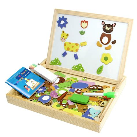 2in1 Magnetic Learning wooden side drawing writing board magnetic puzzle set for boys children