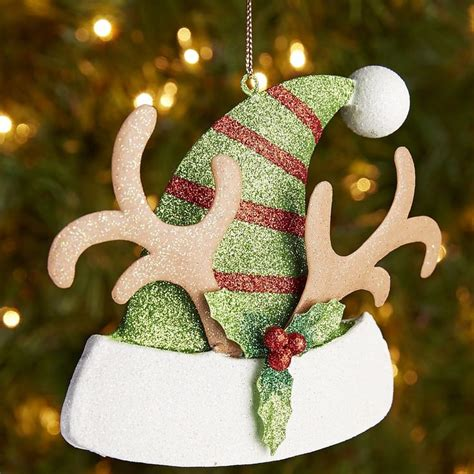 glitter antler santa hat ornament pier 1 imports